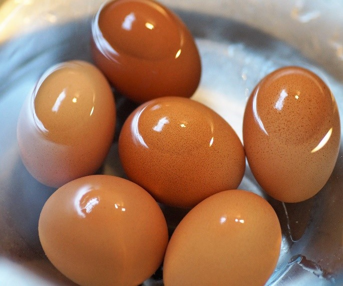 eggs cooling in cold water