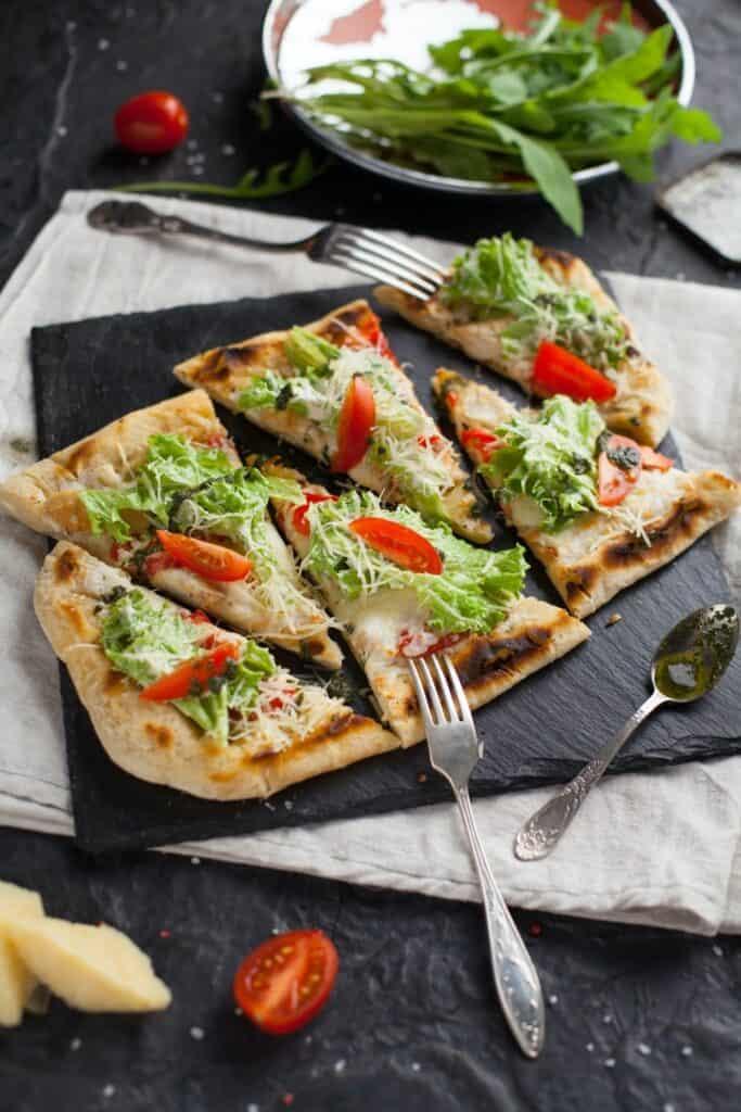pita pizzas on a plate