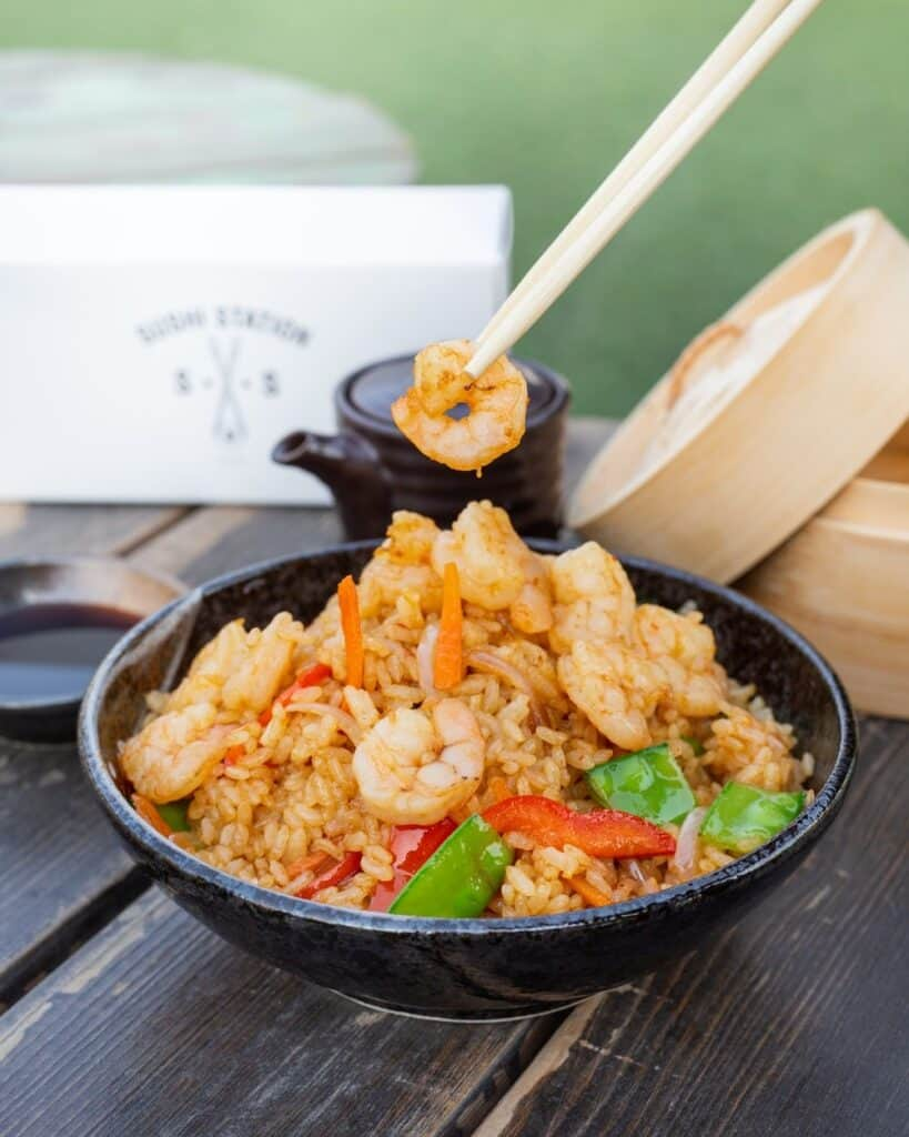 thai fried prawn and pineapple rice in a bowl